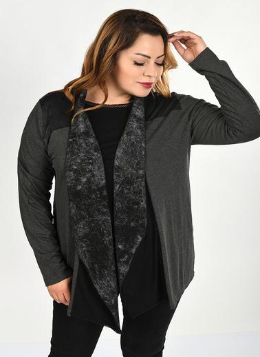 Optique Knitwear Baskılı Şal Yaka Yarasa Uzun Kol Viskon Hırka Antrasit